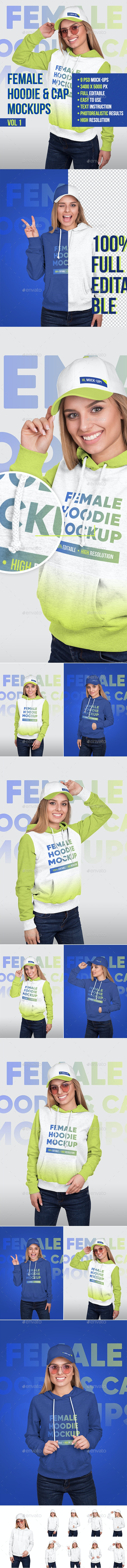 Female Hoodie and Baseball Cap Mockups Vol1 - Apparel Product Mock-Ups