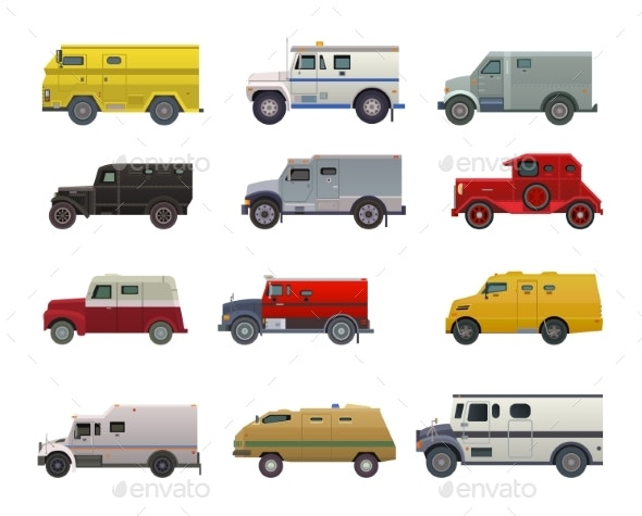 Armored Money Carrier Vehicle Vector - Man-made Objects Objects