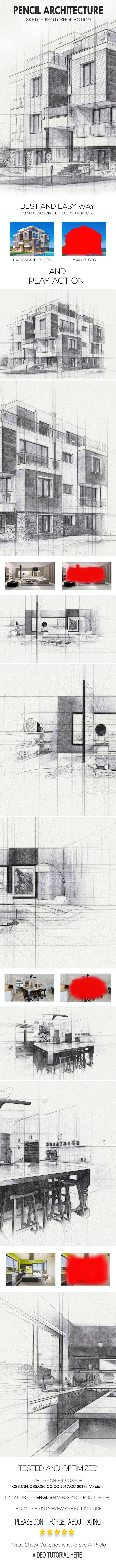 Pencil Architecture Sketch Photoshop Action