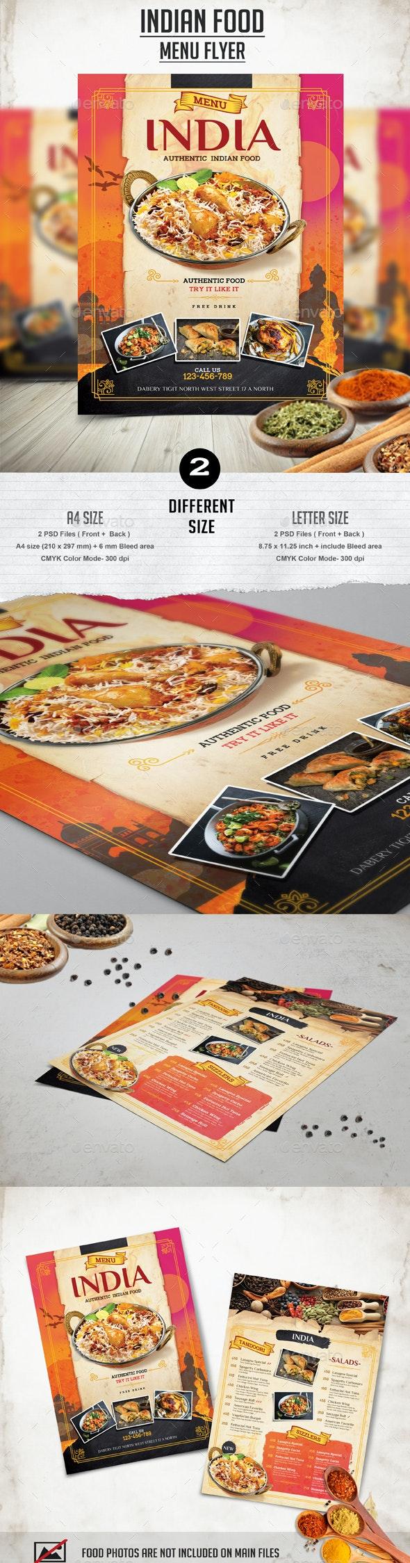 Indian Food Menu Flyer - Restaurant Flyers