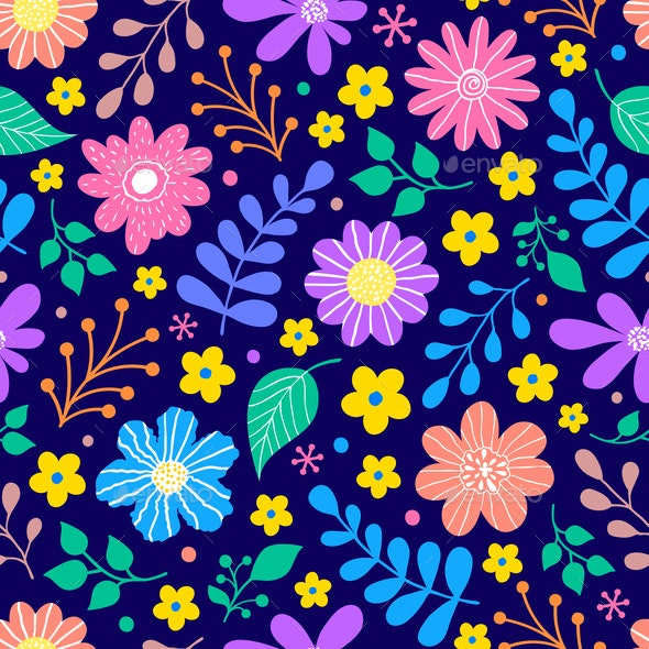 Flower and Leaves Pattern - Backgrounds Decorative