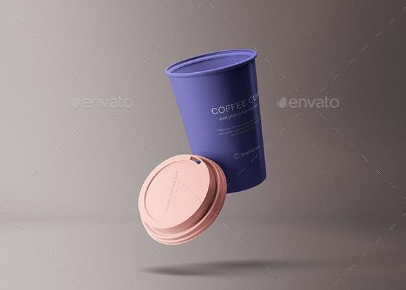 Flying Coffee Cup Mockup - Product Mock-Ups Graphics