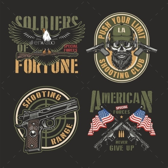 Vintage Army Colorful Labels - Miscellaneous Vectors