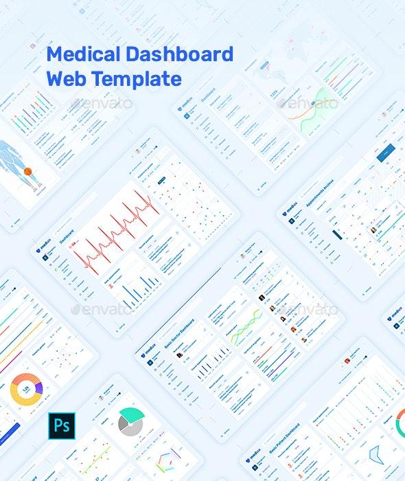 Medux – Web Dashboard UI Kit for Photoshop - User Interfaces Web Elements