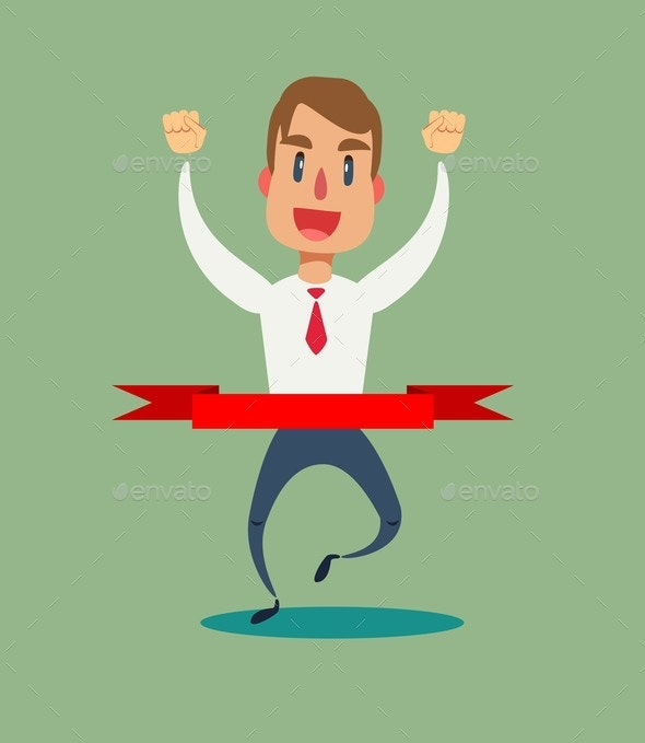 Concept of Successful Businessman Finishing - Sports/Activity Conceptual