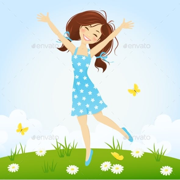 Girl Jumping in Spring Meadow