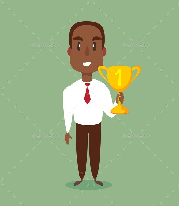 Illustration of a Businessman Holding a Trophy - People Characters