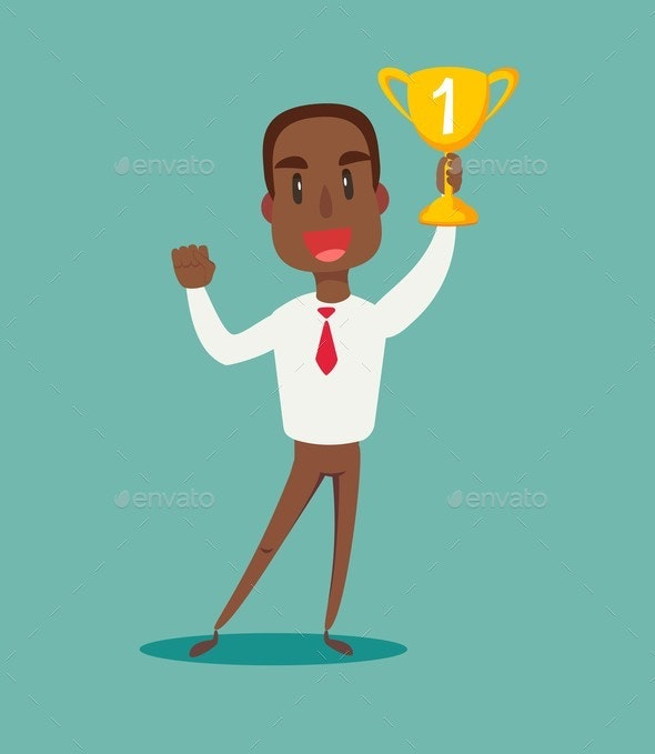Illustration of a Happy Businessman with Trophy - People Characters