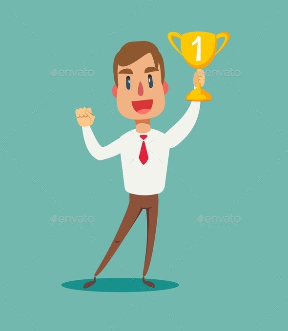 Illustration of a Happy Businessman Holding a Trophy - People Characters