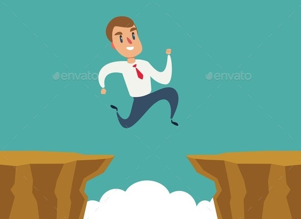 Businessman Jumps Over Cliff Gap - Concepts Business