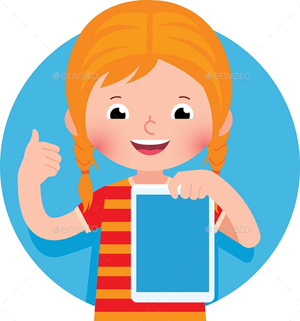 Cheerful Girl Holding a Computer Tablet in Her Hand - People Characters