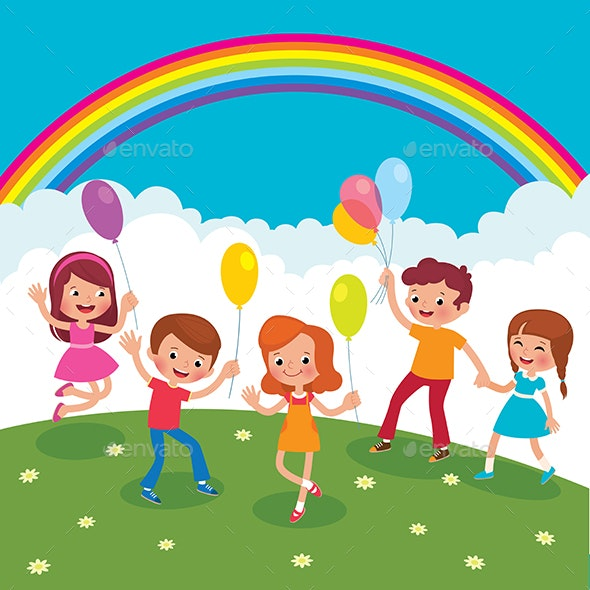 Group of Cheerful Children with Balloons Playing on the Lawn - People Characters