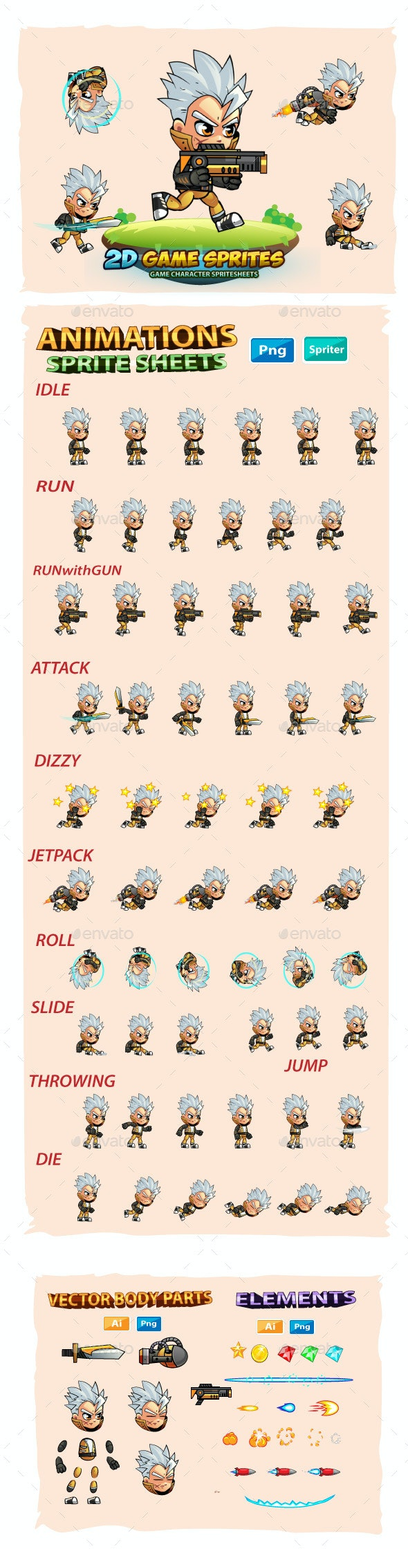 Allan 2D Game Character Sprites - Sprites Game Assets