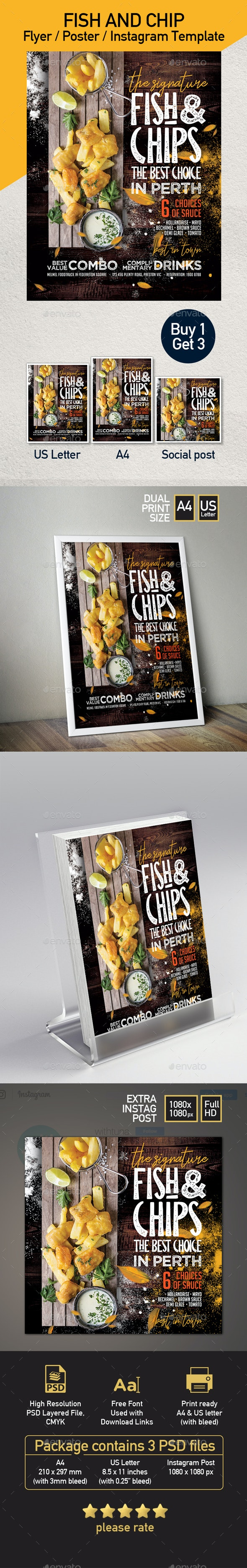 Fish and Chips Food Truck or Restaurant Flyer - Restaurant Flyers