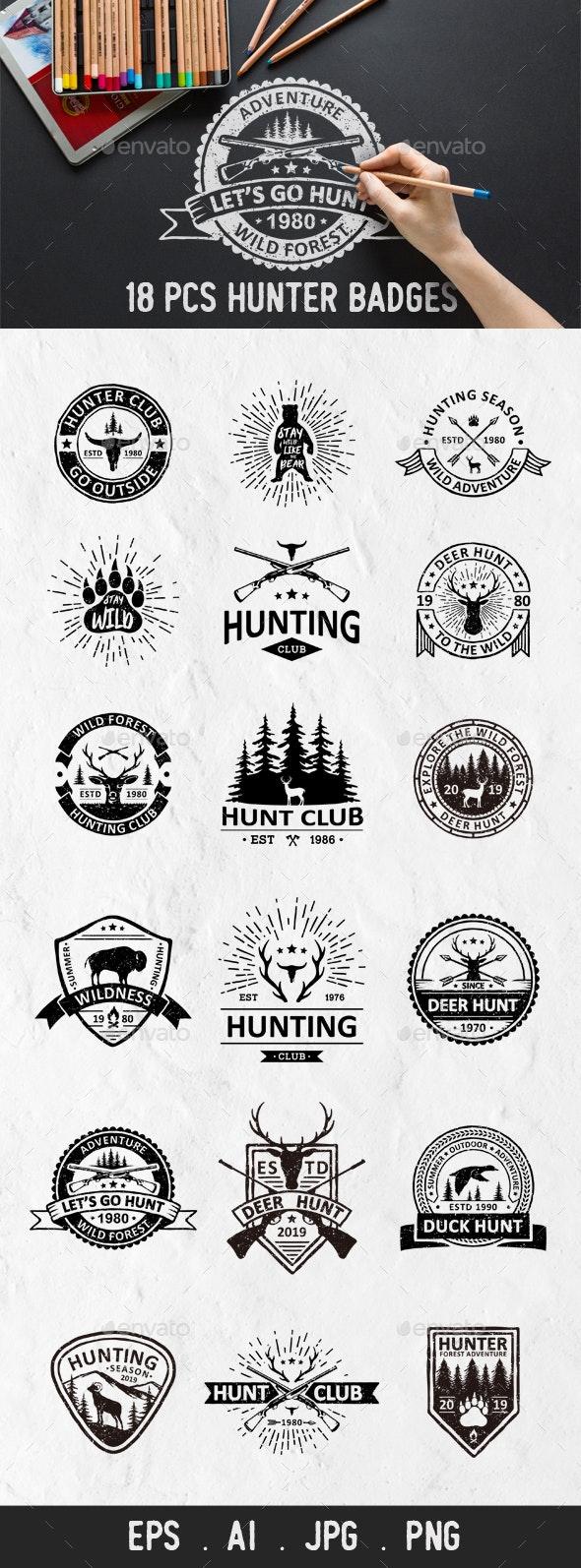 18 Hunter Badges and Logos - Animals Characters