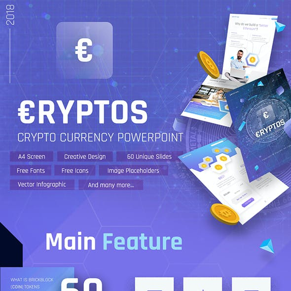 Cryptos - Portrait Crypto Currency PowerPoint Template