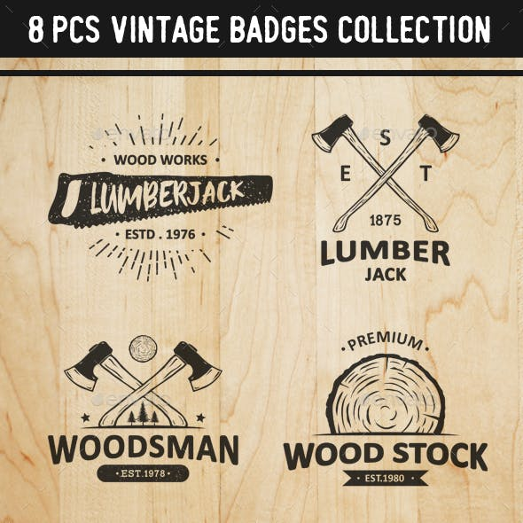 8 Vintage Carpentry Badges and Logos