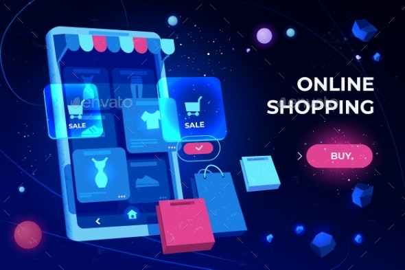 Online Shopping Landing Page Smartphone Screen - Retail Commercial / Shopping