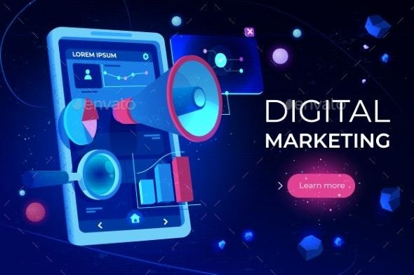 Digital Marketing Landing Page Smartphone Screen - Media Technology