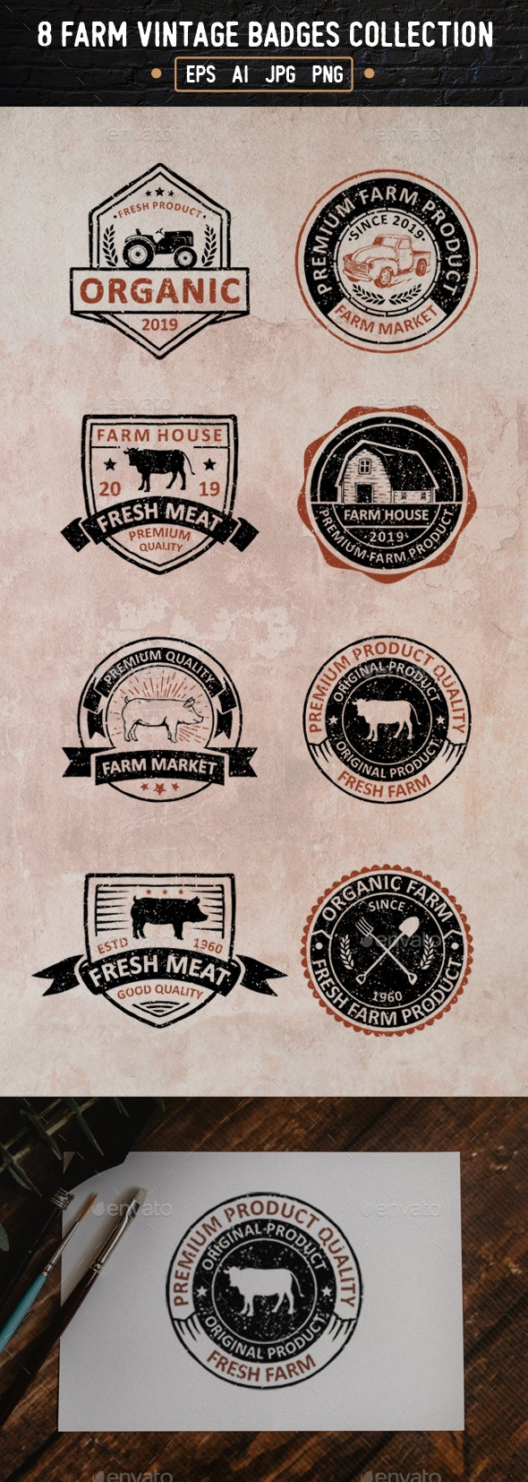 8 Farm Badges and Logos - Badges & Stickers Web Elements