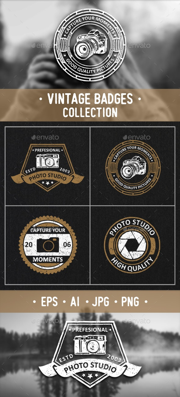 Photography Badges and Logos Set - Badges & Stickers Web Elements