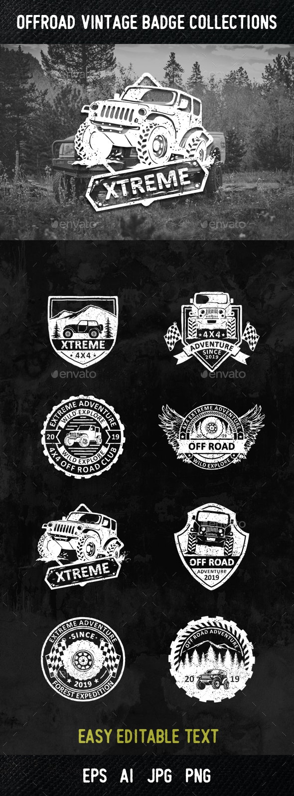 8 Offroad Badges and Logos - Sports/Activity Conceptual
