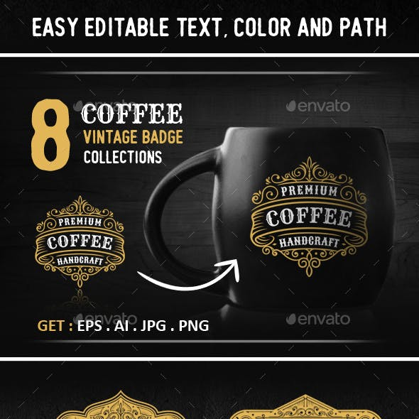 8 Elegance Coffee Badges and Logos