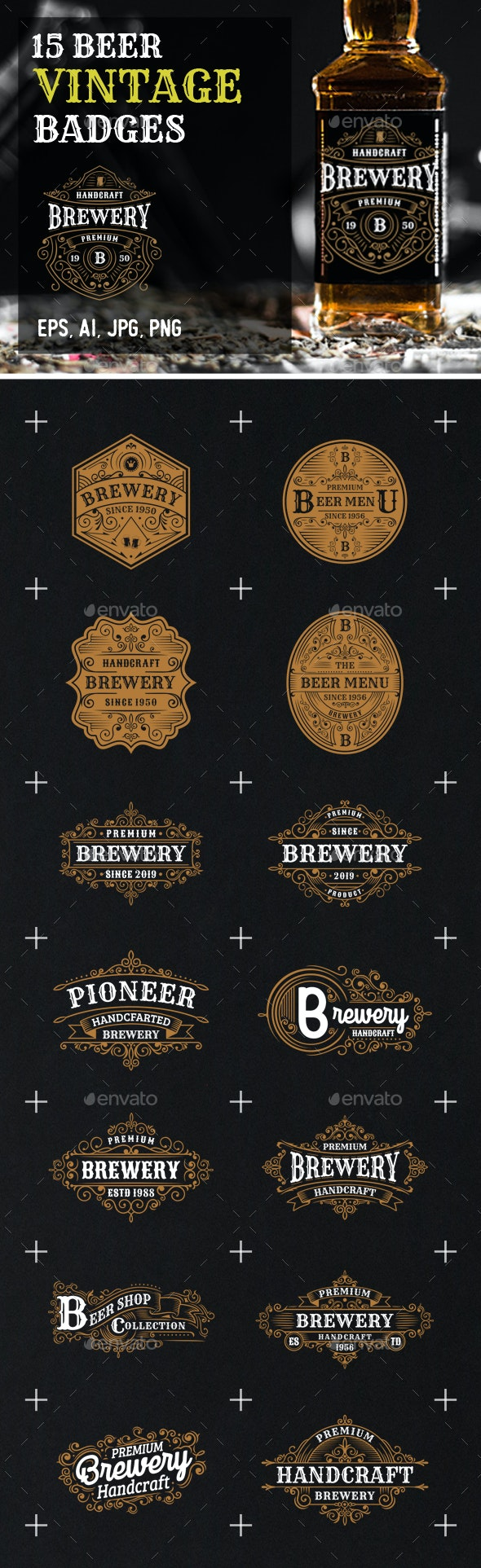 15 Premium Brewery Badges and Logos - Badges & Stickers Web Elements