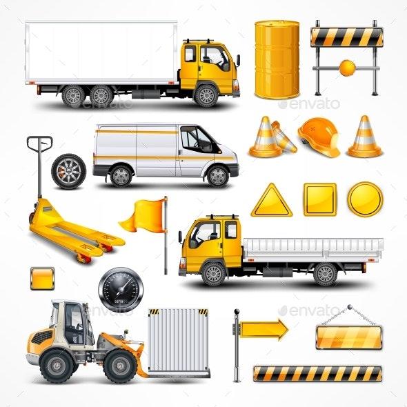 Transportation Elements on White. Vector Illustration. - Vectors