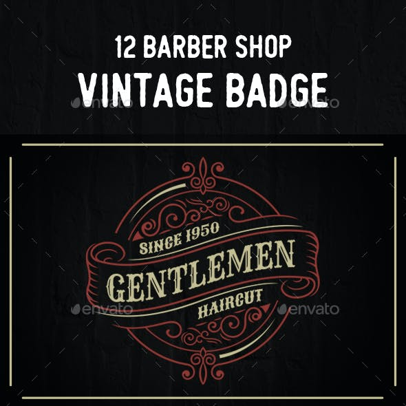 12 Vintage Barber Badges and Logos