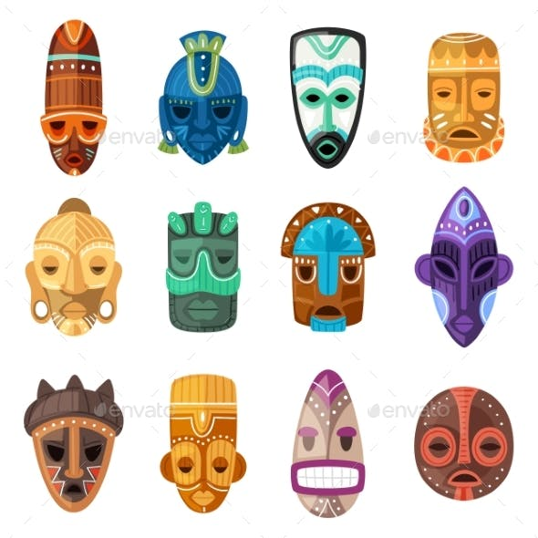 Tribal Mask Vector Cartoon African Face Masque