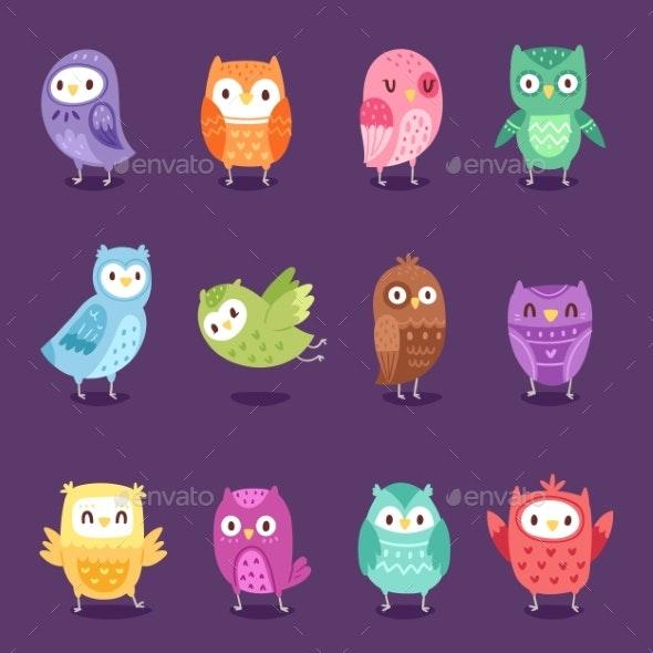Owls Vector Cartoon Owlet Character Kids Animal - Animals Characters