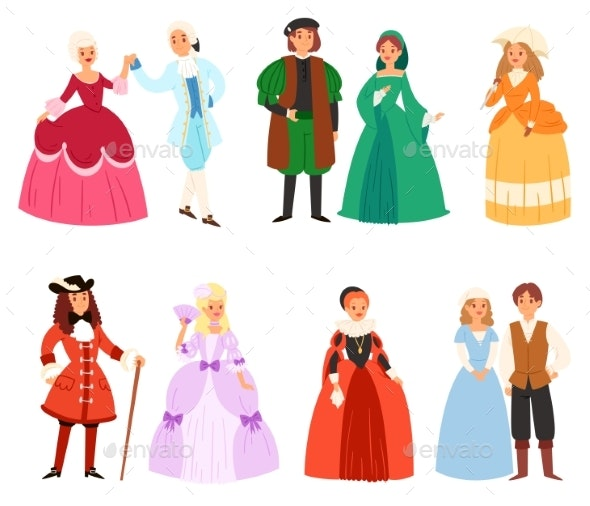Renaissance Clothing Vector Woman Man Character in - Buildings Objects