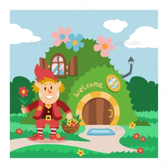 Fantasy Gnome House Vector Cartoon Fairy Treehouse - Flowers & Plants Nature