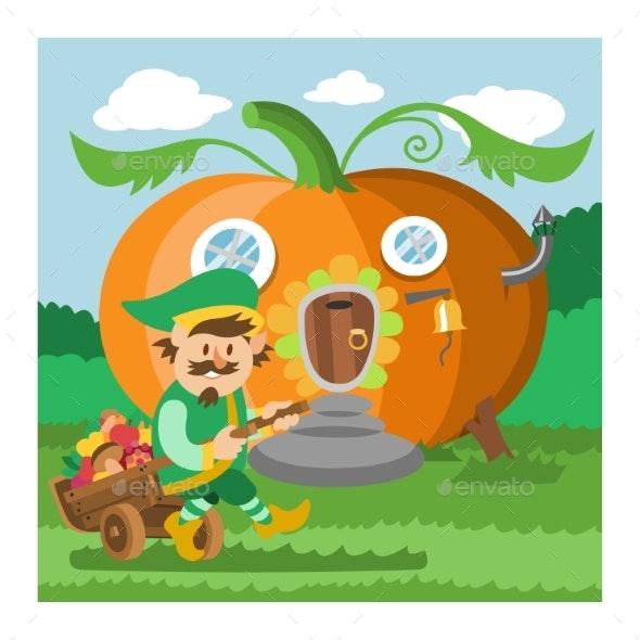 Fantasy Gnome House Vector Cartoon Fairy Treehouse - Flowers & Plants Nature