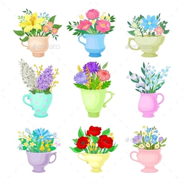 Set of Images of Various Bouquets. Vector - Flowers & Plants Nature