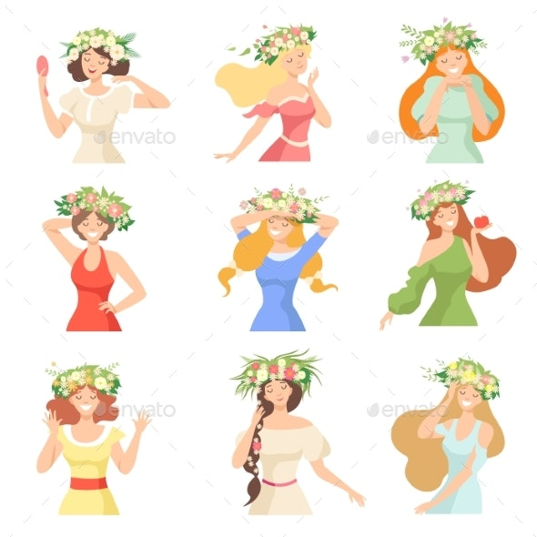 Collection of Young Beautiful Women with Flower - People Characters