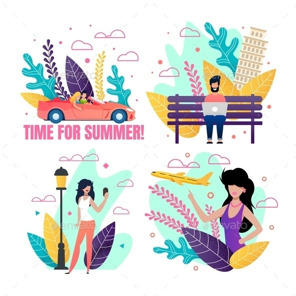 Summer Cards Advertising Best Vacation On-The-Job - Seasons/Holidays Conceptual