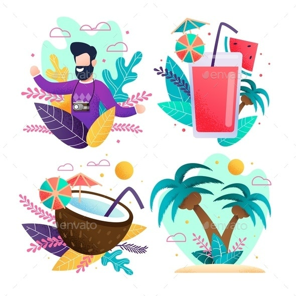Happy Travelling and Summer Vacation Cards Set - Miscellaneous Vectors