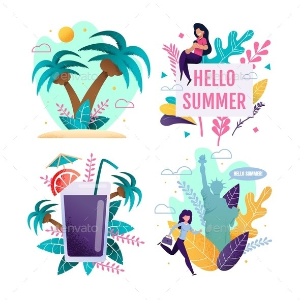 Cartoon Set Opening Summer Season and Vacation - Seasons/Holidays Conceptual