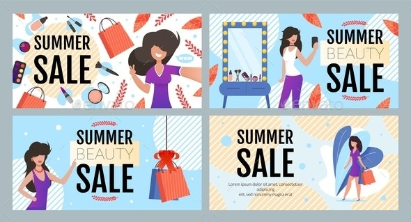 Summer Fashion and Beauty Sale Ad Text Banner Set - Business Conceptual