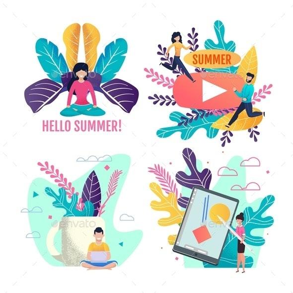 Active Summer and Freelance Invitation Cards Set - Seasons/Holidays Conceptual