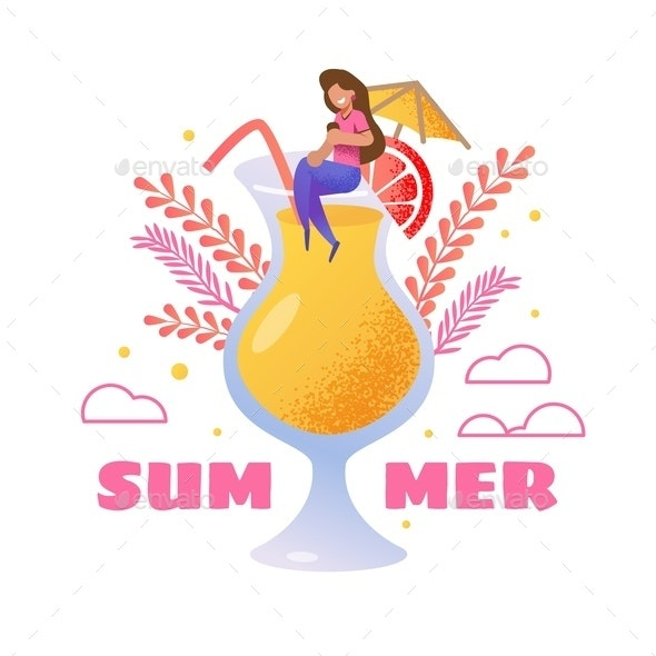 Summer Invitation with Woman on Big Cocktail Glass - Miscellaneous Vectors