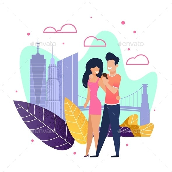 Couple in Love Walking and Taking Selfie Cartoon - Seasons/Holidays Conceptual