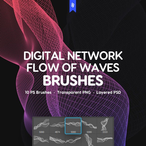 Digital Network Flow of Waves Photoshop Brushes