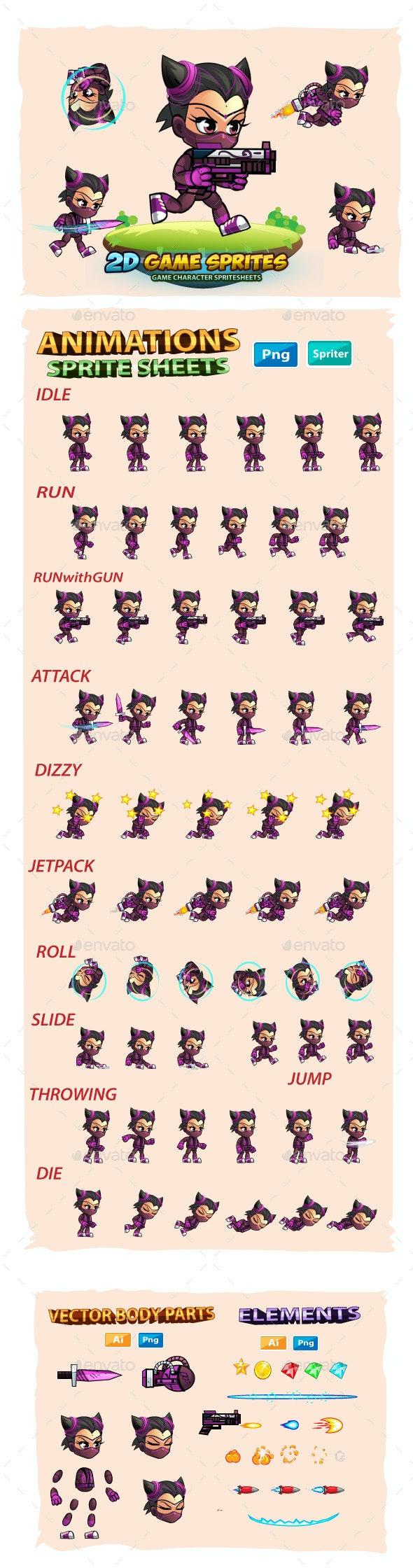 SuperCat Girl 2D Game Sprites - Sprites Game Assets