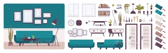 Living Room Interior and Design Construction Set - Man-made Objects Objects