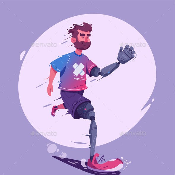 Man with a Prosthesis Is Running. Sport Concept