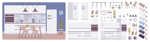 Kitchen Room Interior and Design Construction Set - Man-made Objects Objects