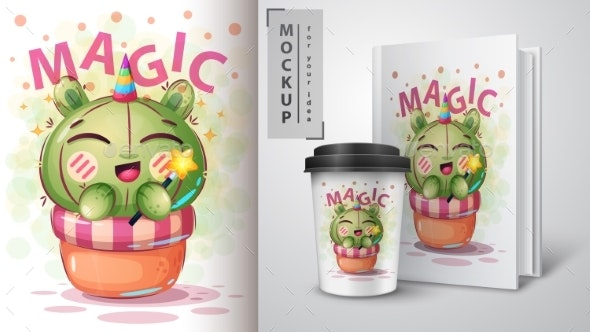 Cactus Unicorn - Mockup for Your Idea - Miscellaneous Characters
